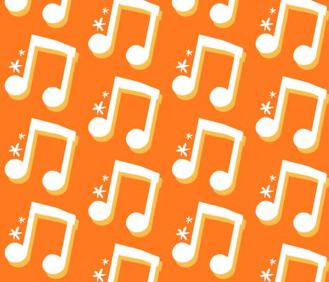 Orange Music Notes fabric by la_panim on Spoonflower - custom fabric
