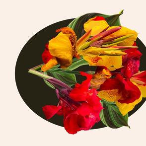 Tropical Bouquet Madallion-Dk.Green & Cream