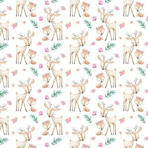 Sweet Deer & Fox - Pink Flowers Woodland Animals Baby Girl Nursery Bedding HALF SCALE
