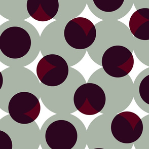enormous halftone dots - burgundy on cool grey
