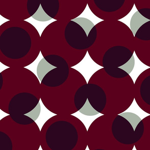enormous halftone dots - white and grey on burgundy