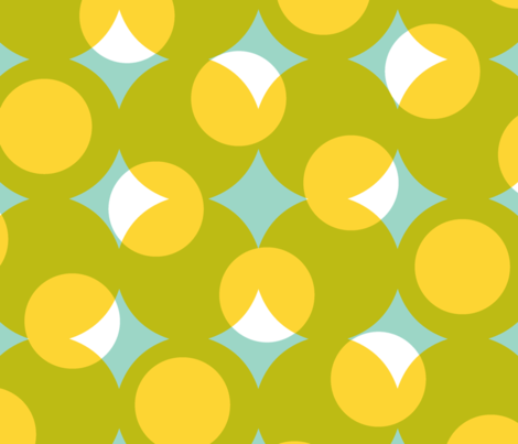 enormous halftone dots - white and yellow on wasabi and aqua