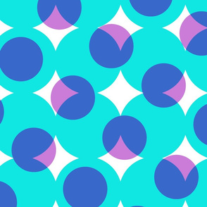 enormous halftone dots - 1980s cyan, blue, pink