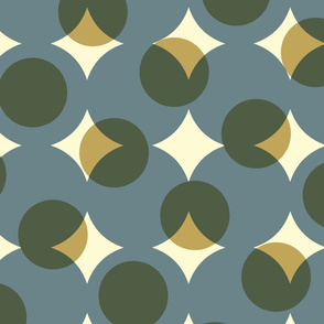 enormous halftone dots - slate, olive, gold, cream
