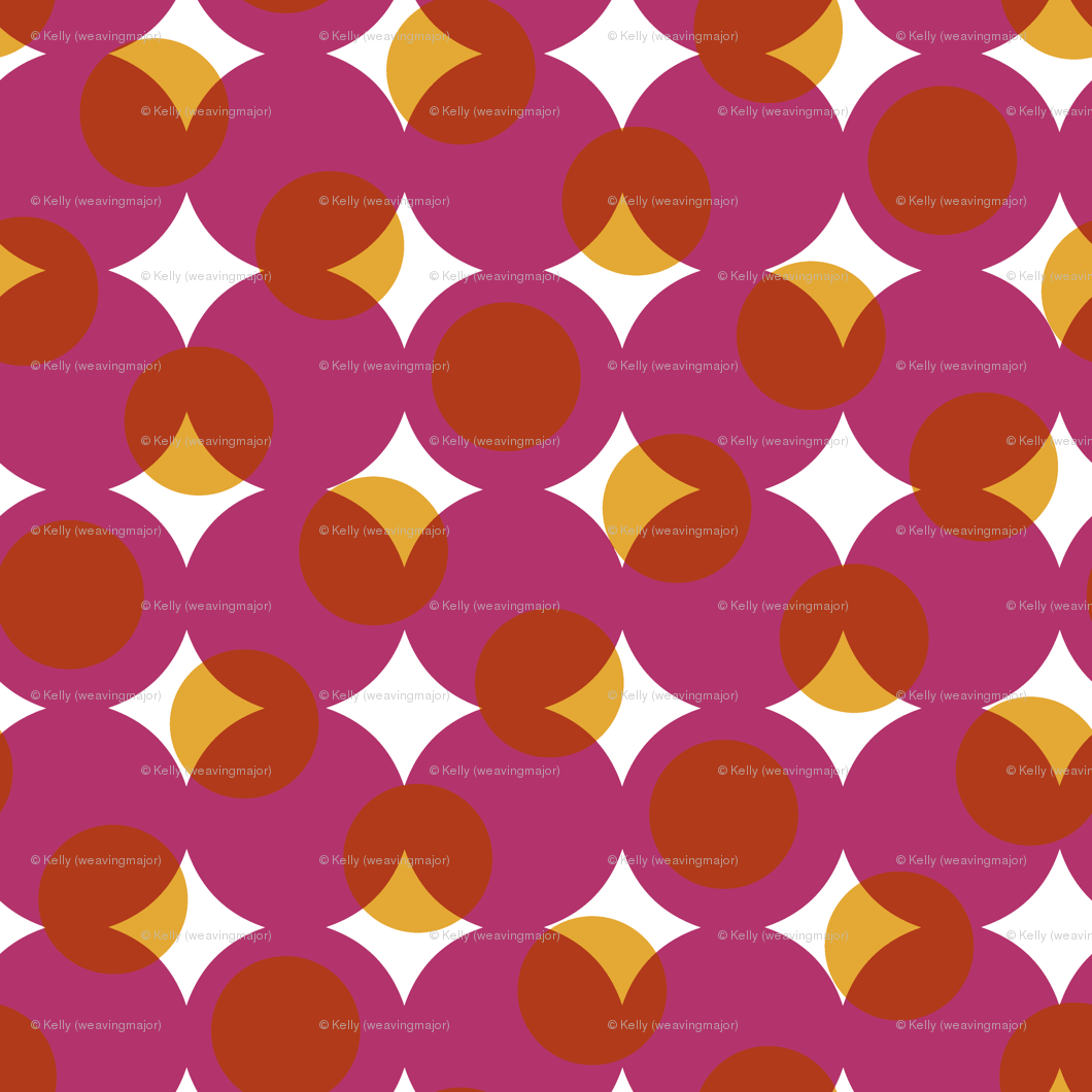 enormous halftone dots in moody pink, orange and gold wallpaper