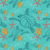 Sea Turtles with Starfish on Aqua