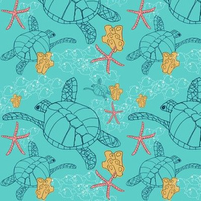 Sea Turtles with Starfish on Aqua