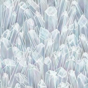 Clear White Quartz Crystal Field
