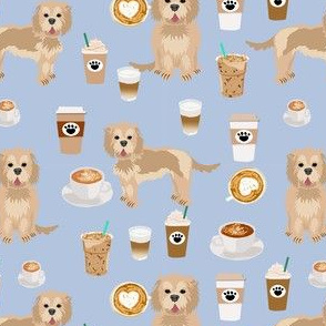 cockapoo coffees fabric - coffee and dogs fabric, tan cockapoo fabric, dog coffee fabric, dog lover, coffee lover fabric -  blue
