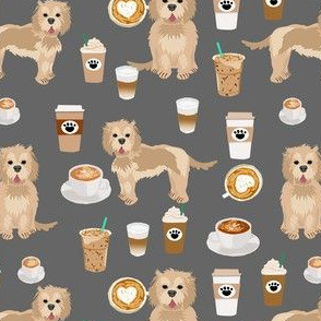 cockapoo coffees fabric - coffee and dogs fabric, tan cockapoo fabric, dog coffee fabric, dog lover, coffee lover fabric - grey