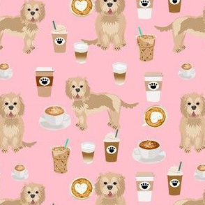 cockapoo coffees fabric - coffee and dogs fabric, tan cockapoo fabric, dog coffee fabric, dog lover, coffee lover fabric - pink