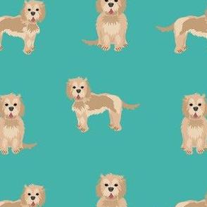 cockapoo fabric - tan cockapoo fabric, tan cockapoo dog, dog fabric, dogs fabric, cute dog, dog fabric - turquoise