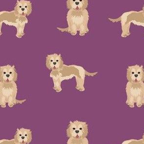 cockapoo fabric - tan cockapoo fabric, tan cockapoo dog, dog fabric, dogs fabric, cute dog, dog fabric -  purple