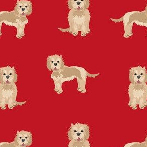 cockapoo fabric - tan cockapoo fabric, tan cockapoo dog, dog fabric, dogs fabric, cute dog, dog fabric - red