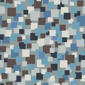 Floating Squares: blue gray black white-Small scale