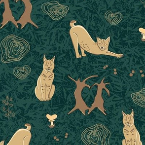 Lovely woodland lynxes on dark foliage