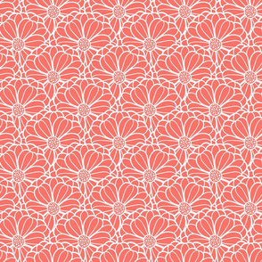 Coral hand drawn flowers in fish scale look overlapping