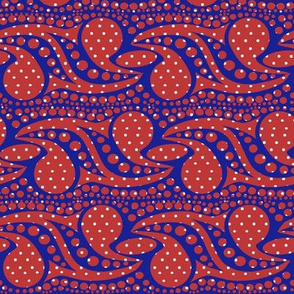 Bohemian Paisley Stripe in Red and Blue