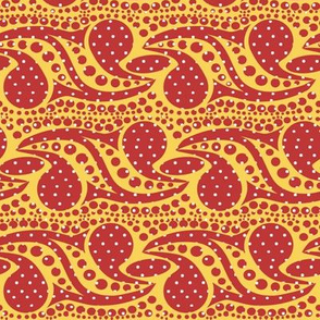 Bohemian Paisley Stripe in Red and Yellow with White Dots