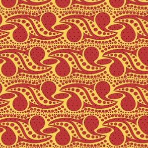 Bohemian Paisley Stripe in Red and Yellow with Black Dots