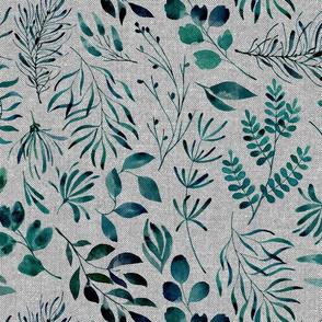 Full texture teal leaves nature botanical home decor prints