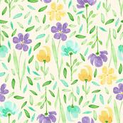 happy watercolor flowers - purple