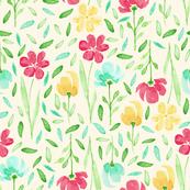 happy watercolor flowers - magenta