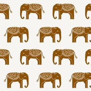 elephants - interior design fabric, home decor fabric, elephants, block print fabric, block printed wallpaper, andrea lauren fabric -  cream