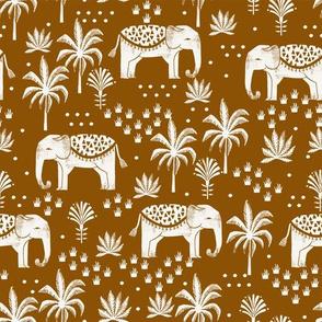 elephant house - interior design fabric, home decor fabric, elephant, palm trees, block print fabric, block printed wallpaper, andrea lauren fabric - ginger