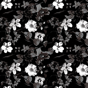 Moody Black and White Floral