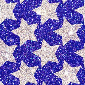 Stars Silver glitter Royal blue 4th of July