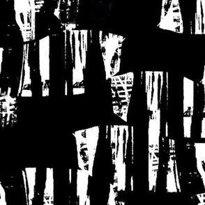 black-white wood block waves