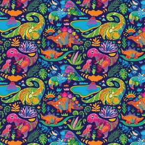 Floral dinos mom with babies_navy blue