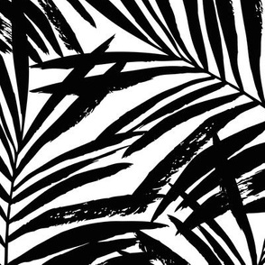 brush palm leaves - black on white, large