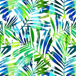 watercolor palm leaves - white, small