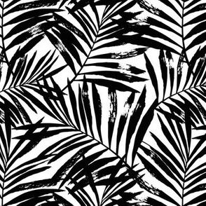 brush palm leaves - black on white, small