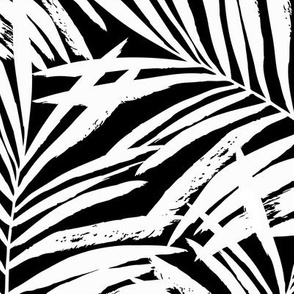 brush palm leaves - white on black, large