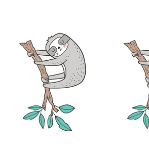 Sloth Sloths on Tree Branch with Leaves on Dark Grey Pillow Plush Plushie Softie Cut & Sew on White