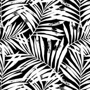 brush palm leaves - white on black, small
