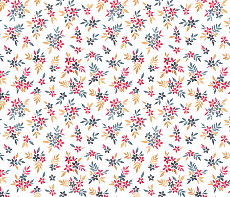 Navy, Pink and Mustard Ditsy Florals fabric by elena_o'neill_illustration_ on Spoonflower - custom fabric