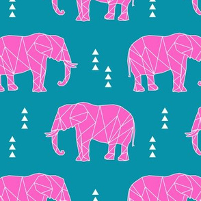 Geometric Elephant // hot pink C19BS