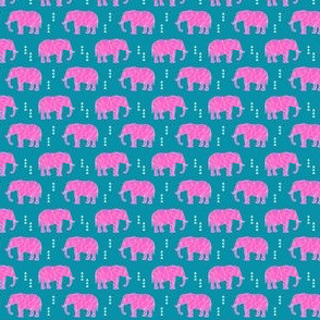 (micro scale) Geometric Elephant // Hot pink C19BS