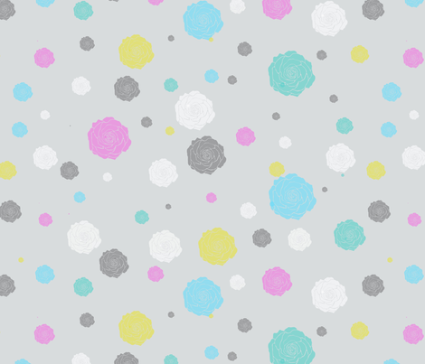 Gray with Roses fabric by kaldreacollections on Spoonflower - custom fabric