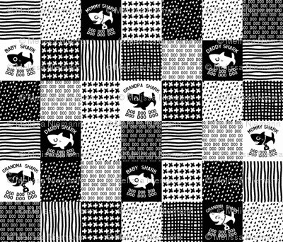 Shark Family mini patchwork black and white