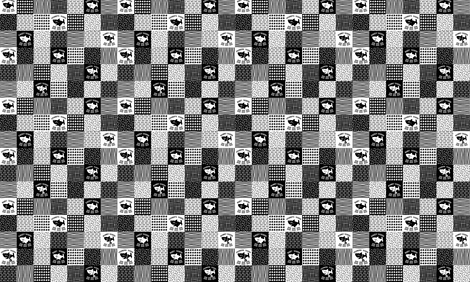 Shark Family mini patchwork black and white fabric by magneticcatholic on Spoonflower - custom fabric