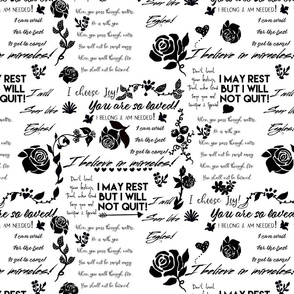 Affirmations in black and white