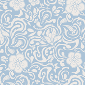 Floral Damask Large Ivory On Blue