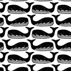 Whale black and white lino