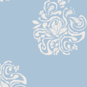 Floral Damask A Large  Ivory On Blue