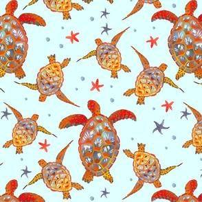 Swimming Turtles (Larger Scale)